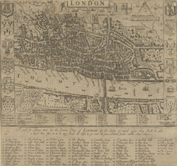 London. A guide for cuntrey men in the famous cittey of London by the helpe of wich plot they shall be able to know how far it is to any street. As allso to go unto the same without forder troble. Anno 1653